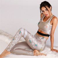 Floral Sexy Sport Suit Women Yoga Set Black Khaki Breathable Gym Sport Wear Elastic Fitness Training Running Dancing Suit