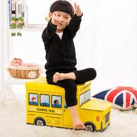 Car Shaped Storage Box Cartoon Pattern Container Toy Portable Foldable Storage Stool For Kids Children