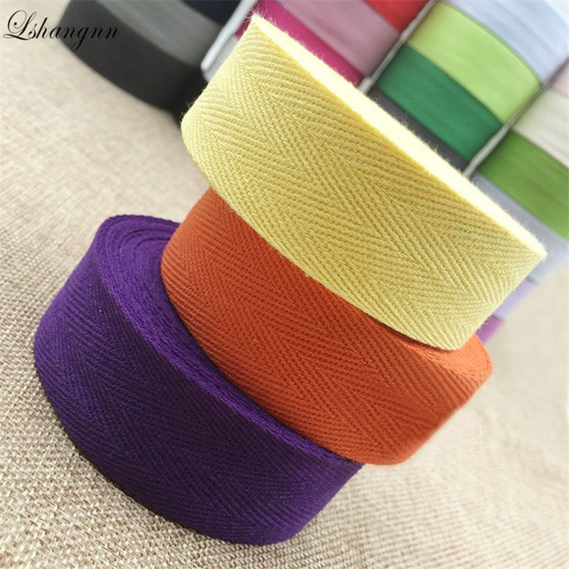 Lshangnn 30MM Width 100% Cotton Belt Herringbone Tape Package Ribbon 50yards For Handmade Diy Cloth Accessories 27 Colors