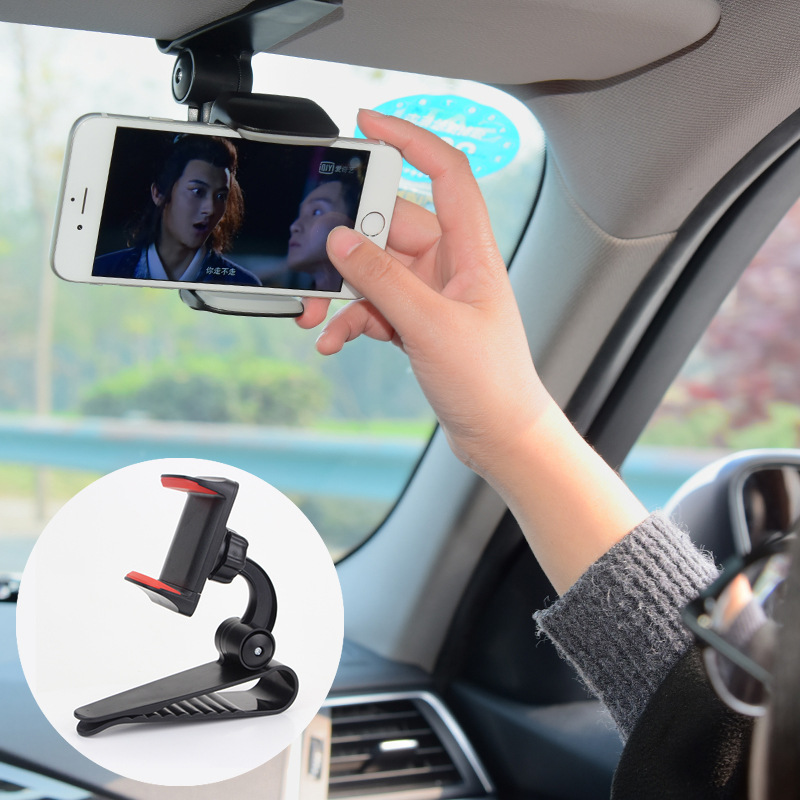 Innovative Universal Safe Sun Visor Car Phone Holder Car Navigation Holder Clip Install On Mirror Handle For Mobile Phone ZY0209