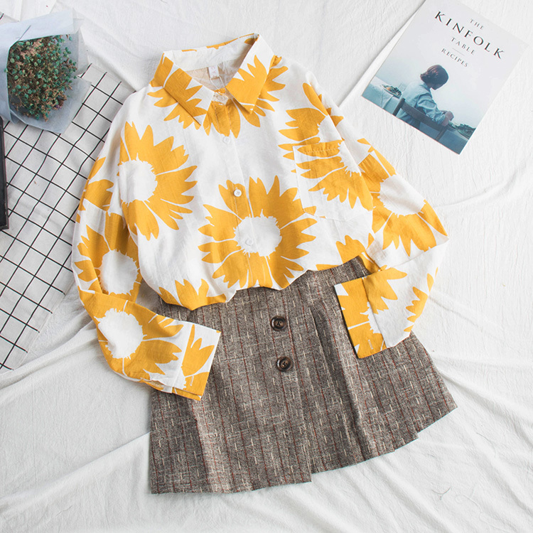 Women's Clothing 2019 Spring Summer New Fashion Blouse Lattice Dot Printing Long Sleeve Bow Collar Long Sleeve Shirt For Woman As463
