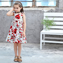 Kids girls dress new summer 2019 cotton bow floral baby dress sleeveless print children's clothing stylish floral big bow girls dress