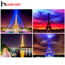 Huacan Diamond Embroidery Eiffel Tower Full Drill Square Painting Scenery Home Decoration Mosaic Sale Needlework