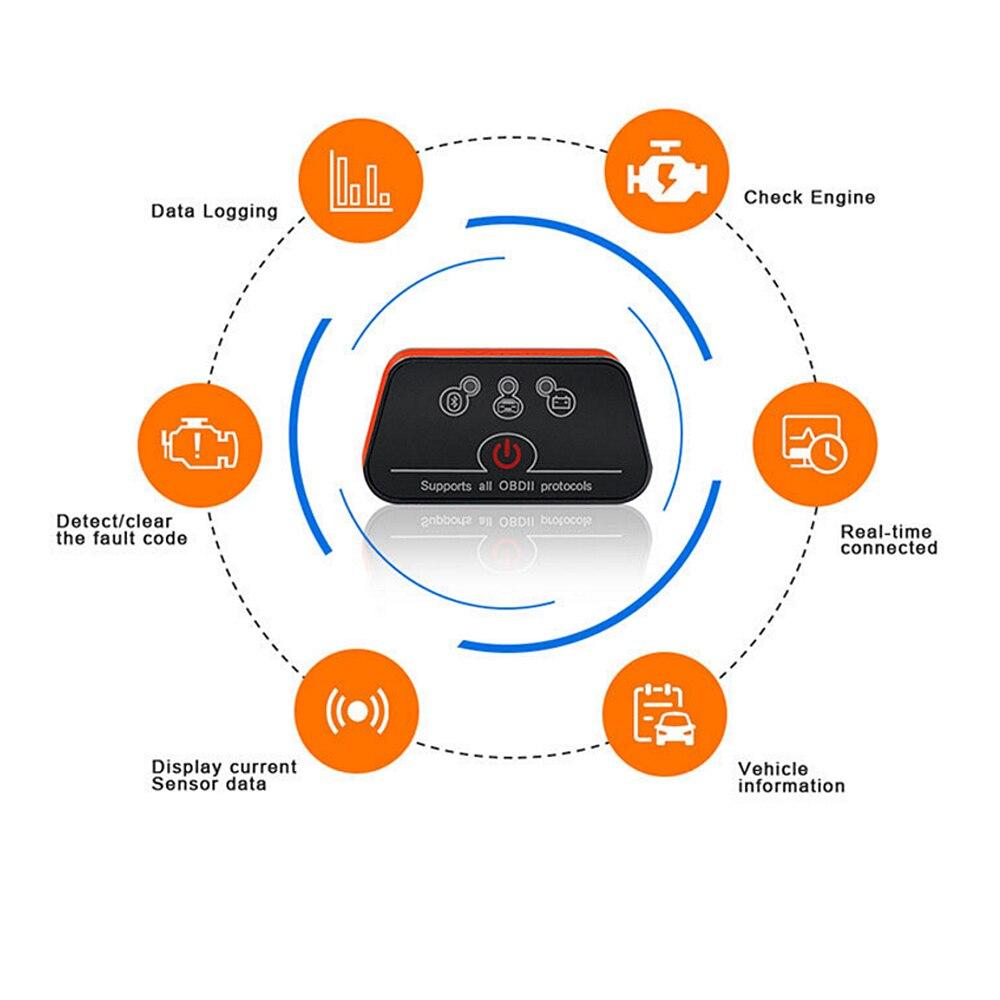 Автомобильный диагностический сканер LEEPEE icar2 OBD2 ELM327 V1.5 Автомобильный сканер для Android Bluetooth адаптер