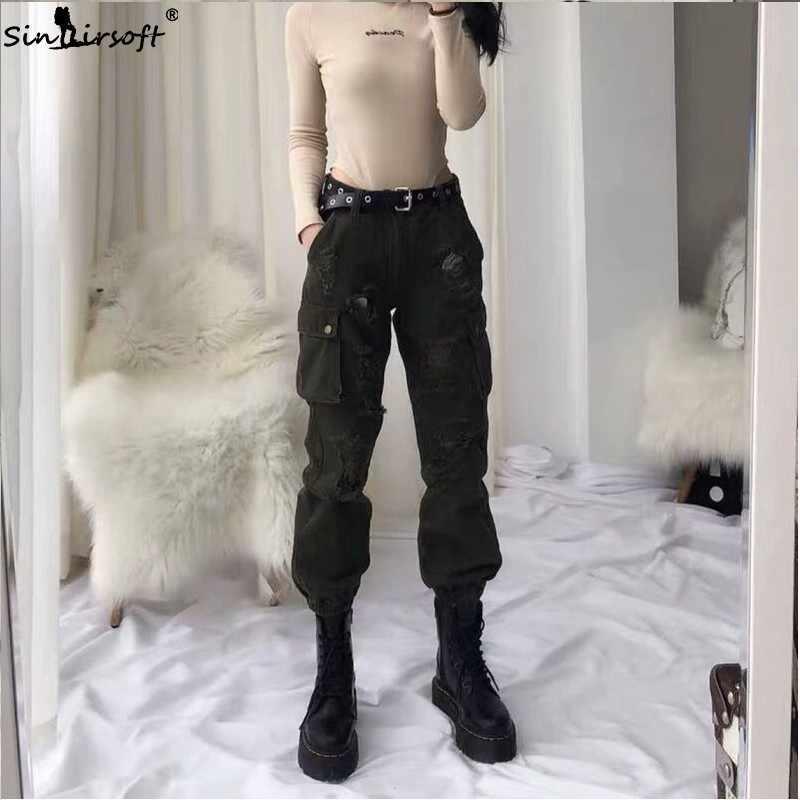 2019 Modis джинсовые брюки-карго с высокой талией, женские уличные брюки бойфренда, повседневные штаны для бега, женские свободные рваные джинсы