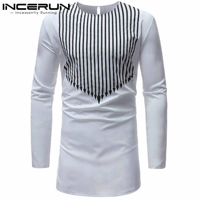 2019 NEW Men African Dashiki Dress Shirt Striped Print Shirt Long Sleeve  White Shirts Africa Clothing 8f4725a91