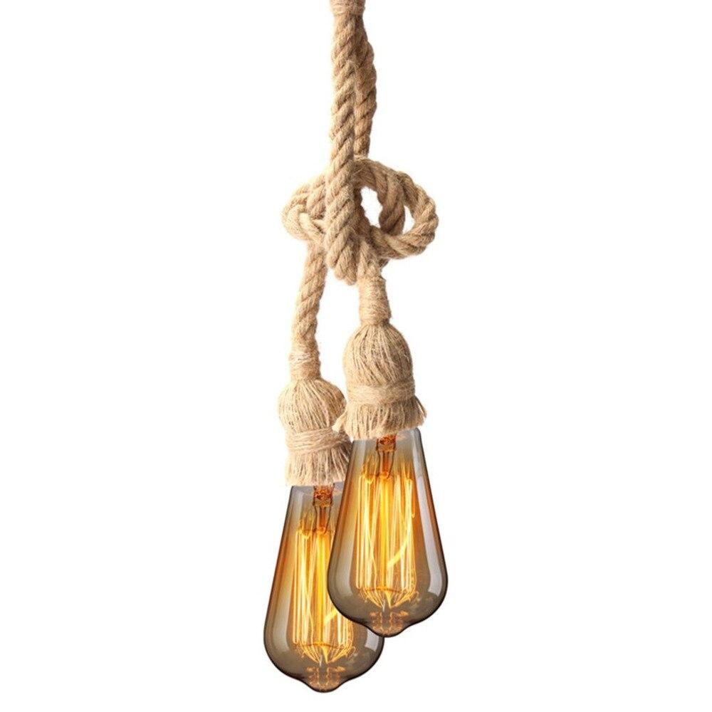 E27 Industrial Pendant Lamp Double Head Vintage Edison Rope Ceiling Home Restaurant Themed Decor Hemp Rope