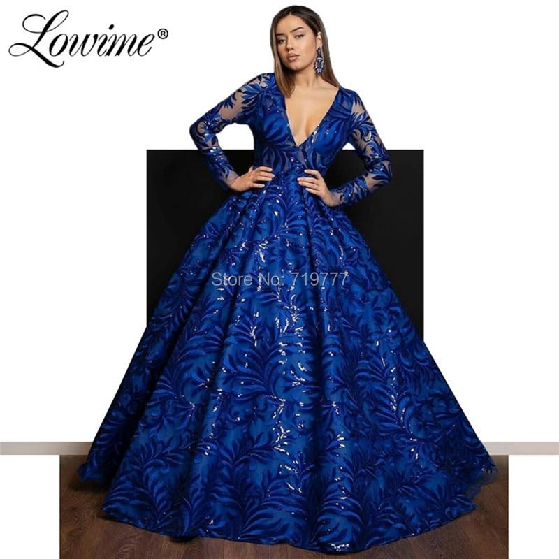 Arabic Royal Blue Evening Dresses V Neck Long Sleeve Prom Dress Turkish Party Dress Robe De Soiree 2019 Saudi Arabia Formal Gown