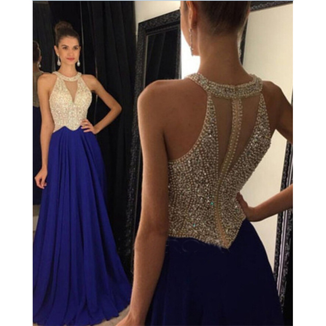 a06c5aea0c Envío Gratis azul marino vestido vestidos Sexy pura corsé largo fiesta sin  espalda vestido de baile