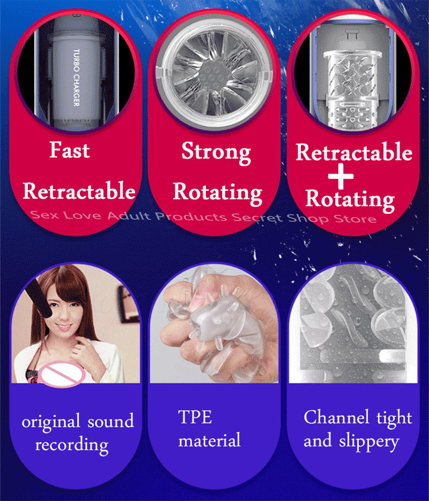 Image 4 - Silicone Powerful Automatic Piston Telescopic Rotate Male Masturbator Voice Artificial Vagina Pussy Vibrator Sex Toys For Men-in Vibrators from Beauty & Health