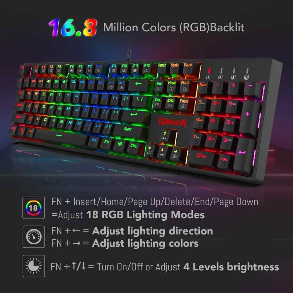 Redragon K582-BA комбинированная Проводная Механическая игровая клавиатура и игровая мышь M711 Cobra 10000 dpi 7 программируемых кнопок RGB светодиодный для CS