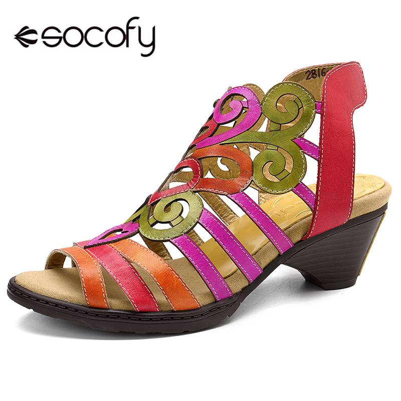 SOCOFY Hollow Sandals Genuine  Leather Love Shape Soft Hook Loop Low Heel Sandals Ladies Shoes Women Shoes Elegant High Heels