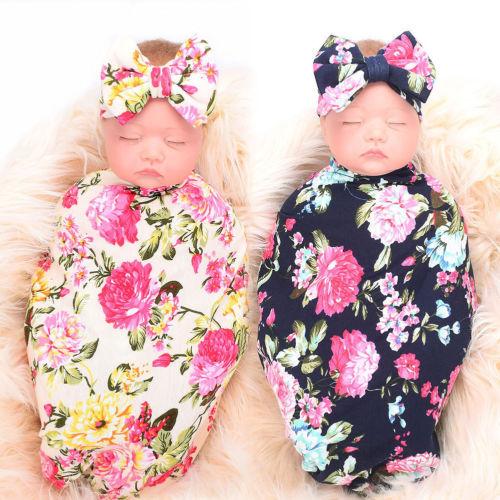 Headband Photo Prop Set 2PCS Newborn Baby Lace Cocoon Swaddle Wrap Tassel Cloth