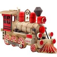 Children Wooden Retro Locomotive Railway Engine Model Artware Ornaments Decoration Toy for Home Office