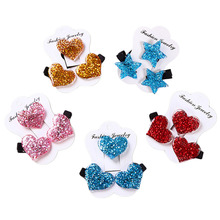 3pcs/set Cute Girls Glitter Big Star Hair Clips Kids Sequins Shiny Hairpins Handmade Barrette Accessories