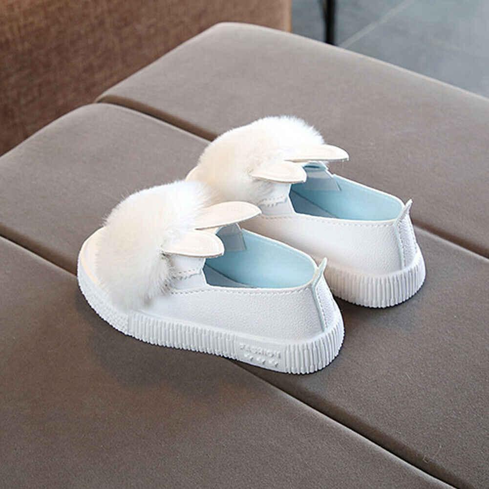 2019 Baby First Walkers เจ้าหญิงเด็กทารกเด็กทารกกระต่ายสบายๆรองเท้ากันลื่น Soft Sole Fluffy Furry รองเท้าเด็ก