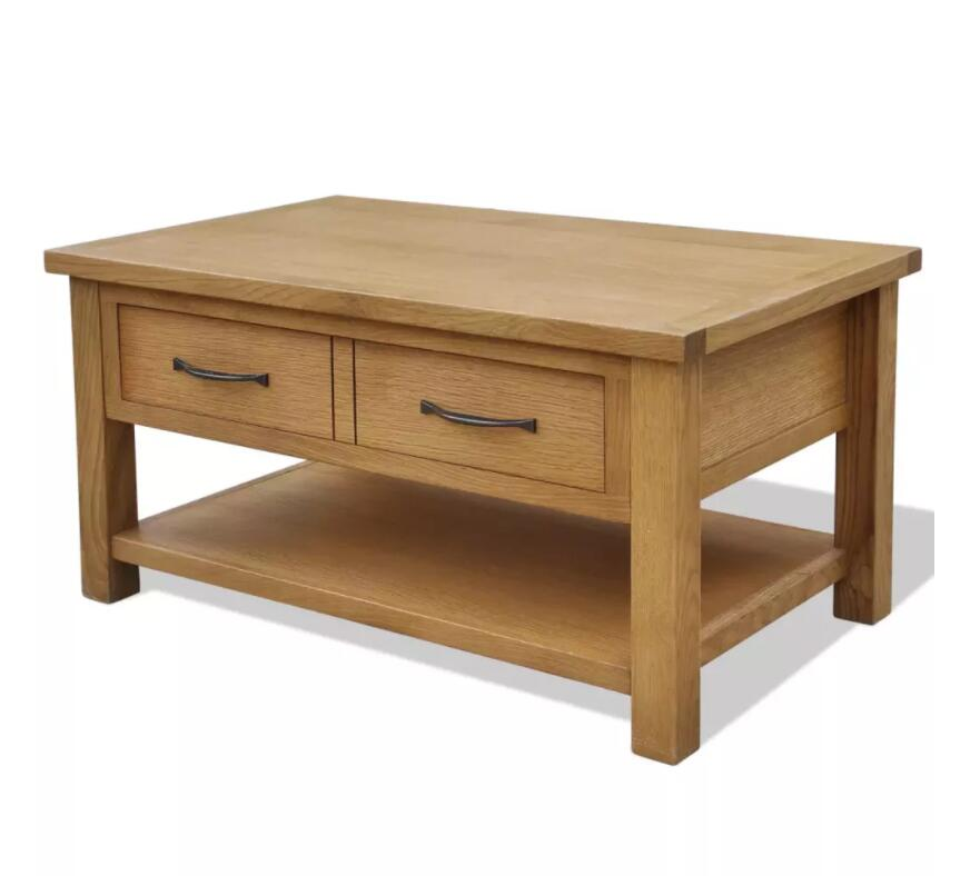VidaXL Oak Coffee Table With Drawers Simple Living Room Furniture Solid Wood Coffee Table 88 X 53 X 45 Cm
