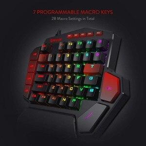 Image 2 - ريدراجون K585 ديتي بيد واحدة RGB الميكانيكية الألعاب لوحة المفاتيح 42 مفاتيح الأزرق التبديل LED اليد اليسرى لوحة مفاتيح صغيرة لعبة المحمول