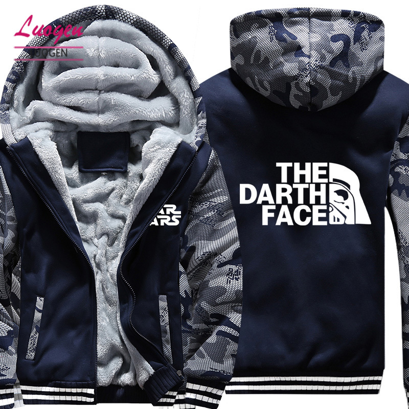 USA SIZE Movies Star Wars Printed Men's Hoodies Sweatshirts Winter Fleece Thicken Hoody Coats Men Camouflage Jackets Clothes