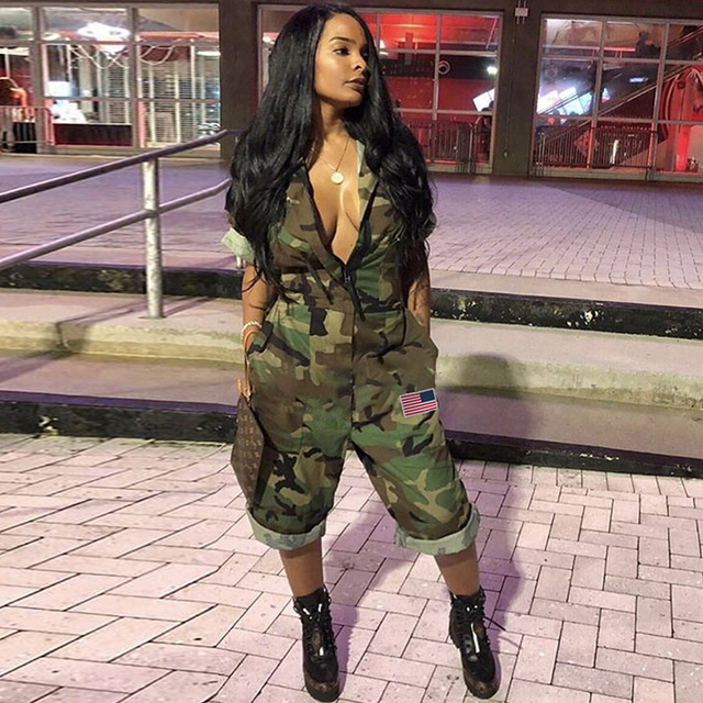 e32a76558f2 Women Camouflage Jumpsuit Army Military Cargo Overall Shorts Female  Playsuit Knee Length Macacao Feminino Plus Size