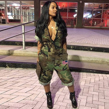 Women Camouflage Jumpsuit Army Military Cargo Shorts Female Playsuit Plus Size Print Rompers Zipper Streetwear Chic Turtleneck(China)