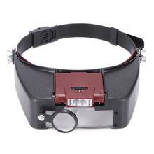 10X оголовье лупа очки шлем Стиль Лупа объектив СВЕТОДИОДНЫЙ Свет Лупа-микроскоп для ремонта часов ювелирные изделия для чтения