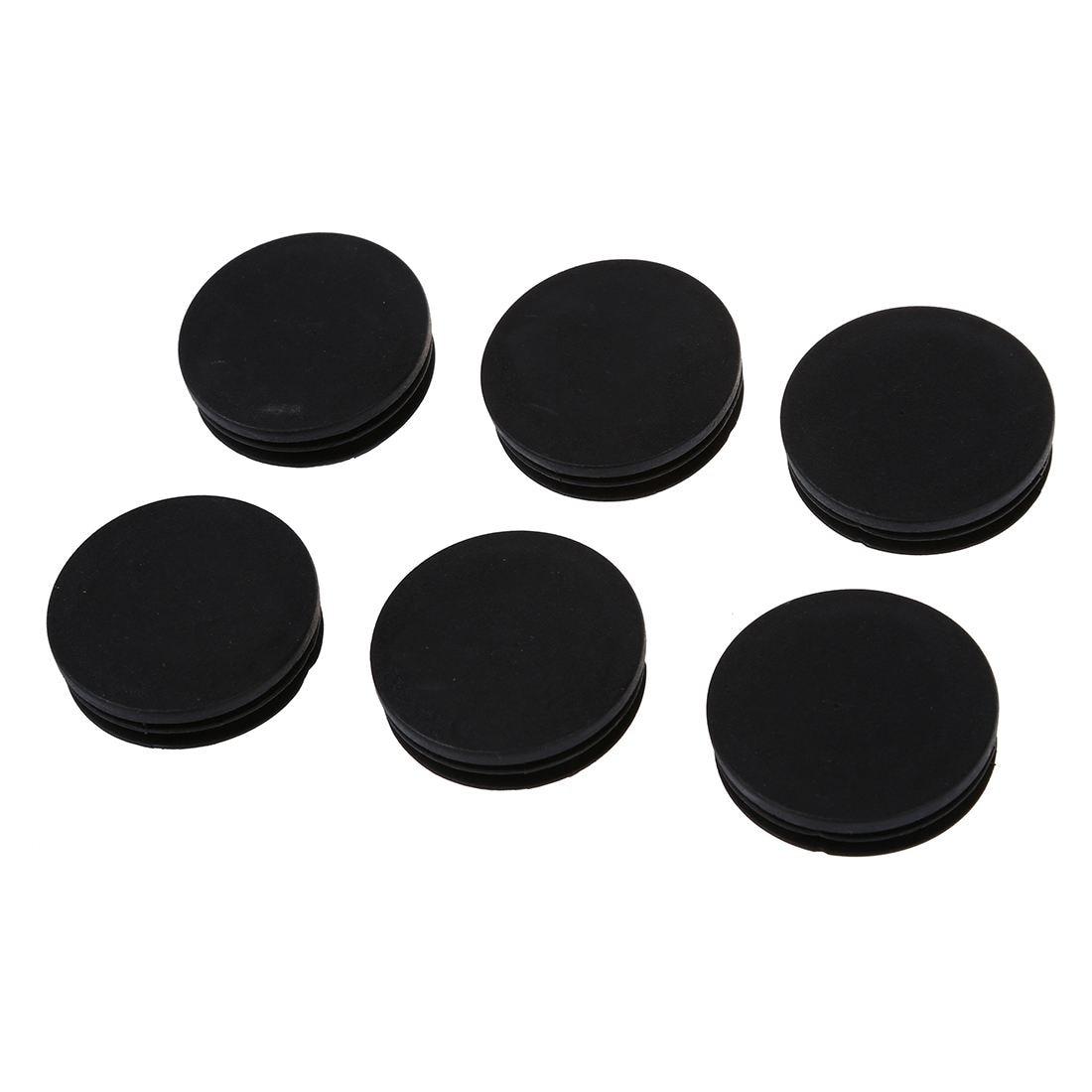 Promotion! 6 X Black Plastic 50mm Dia Round Tubing Tube Insert Caps Covers