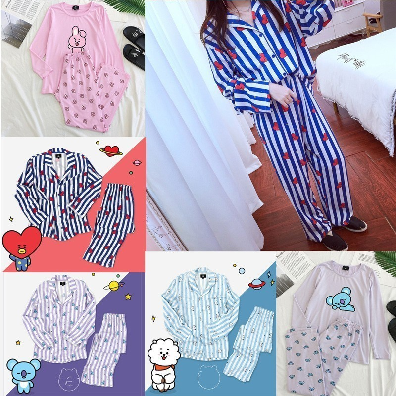 Bt21 Bts Kawaii Cartoon Cotton Pajama Sets K Pop Bangtan Boys Korean Style Fashion Love Yourself Answer V Rm Jin Rm Jin Jungkook Fashionable Patterns Men's Sleep & Lounge