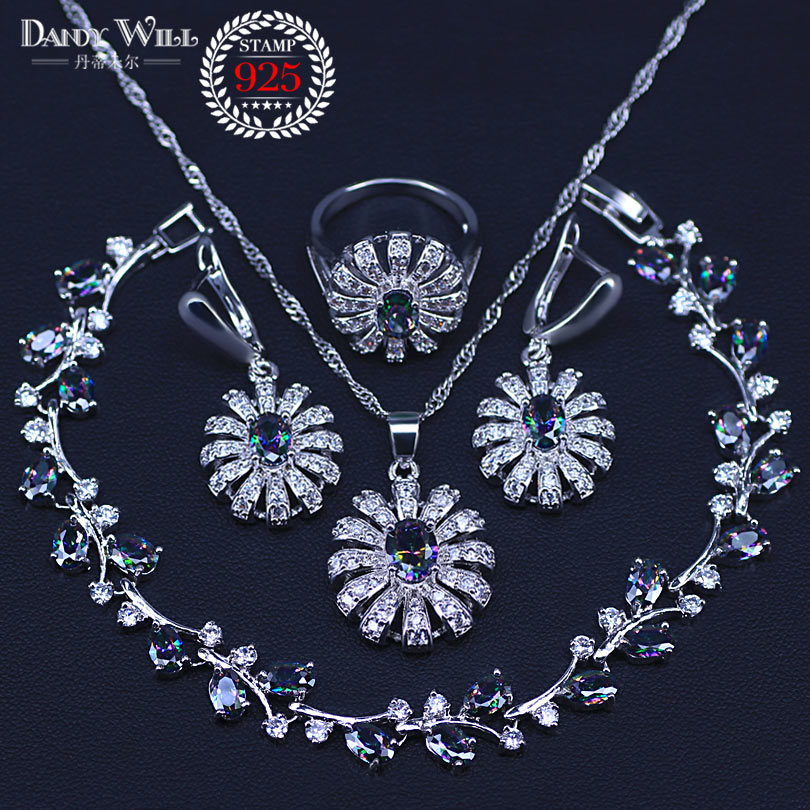 4PCS 925 Sterling Silver Jewelry Set Flower Colorful Multicolor Stones Earrings