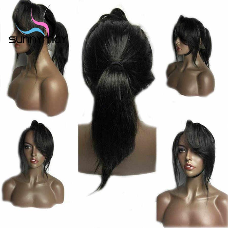 Sunnyмая 180% предварительно сорвал полный шнурок человеческих волос парики с детскими волосами боковая часть длинные прямые полные парики шнурка Remy бразильские парики