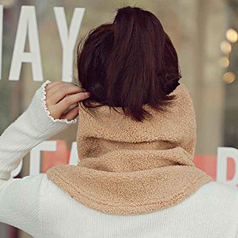 Tahan Angin dan Tahan Dingin Tebal Penggunaan Ganda Termal Tinggi Berkerah Fashion Masker Leher Syal untuk Wanita musim Gugur dan Winte Baru