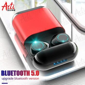Artisome auricular Bluetooth inalámbrico estéreo TWS Auriculares auriculares Bluetooth Estéreo V5.0 auricular Bluetooth con micrófono y la funda de carga
