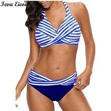 S-5xl полосатый комплект бикини плюс Размеры Плавание костюм Push Up Плавание одежда твист Плавание ming костюм для Для женщин женские пляжные Двойка Плавание костюмы