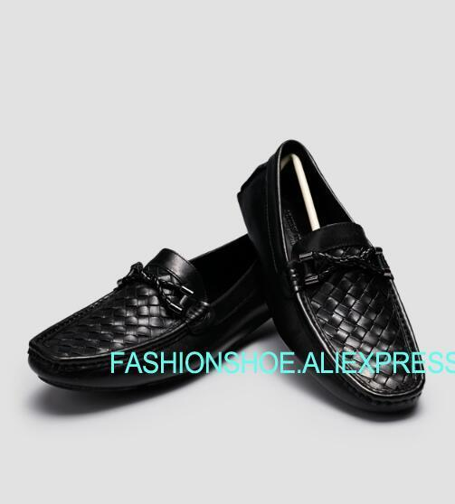Learned Men Weave Peas Driving Loafers Flat Heel Slip On Black Real Leather Man Wedding Party Dress Shoes And Digestion Helping Formal Shoes