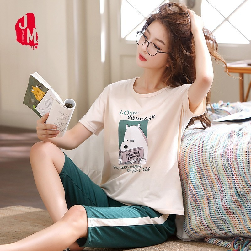 2019 Plus Size M-5XL Women   Pajamas     Set   Summer Short Sleeve Pyjamas 100% Cotton Women Sleepwear Cute Cartoon Pijamas