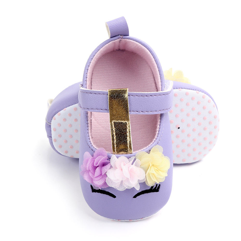 2019 Brand New Toddler Baby Girls Flower Unicorn Shoes PU Leather Shoes Soft Sole Crib Shoes Spring Autumn First walkers 0-18M 3