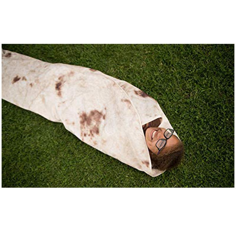 1 Stks Deken Tortilla Deken Brief Printing Tapijt Ronde Burrito Kleine Tapijt Voor Kantoor Camping Outdoor Deken Dropshipping Duidelijk Effect