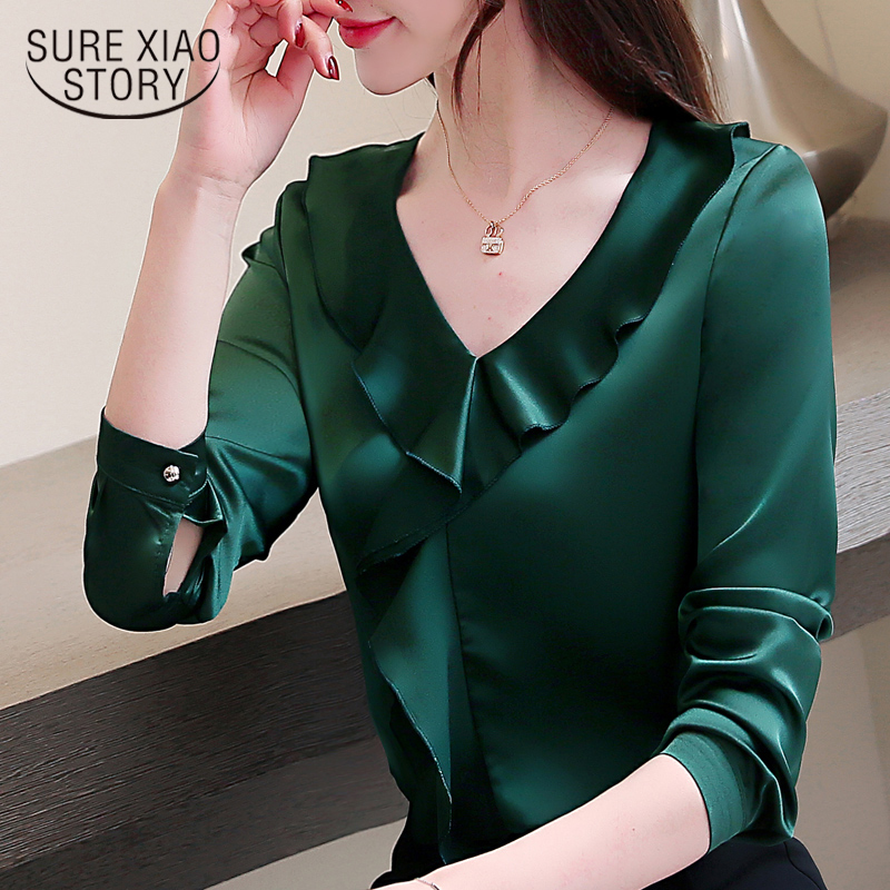 fashion woman   blouses   2019 plus size women chiffon   blouse     shirt   V collar office   blouse   long sleeve women   shirts   blusas 2355 50