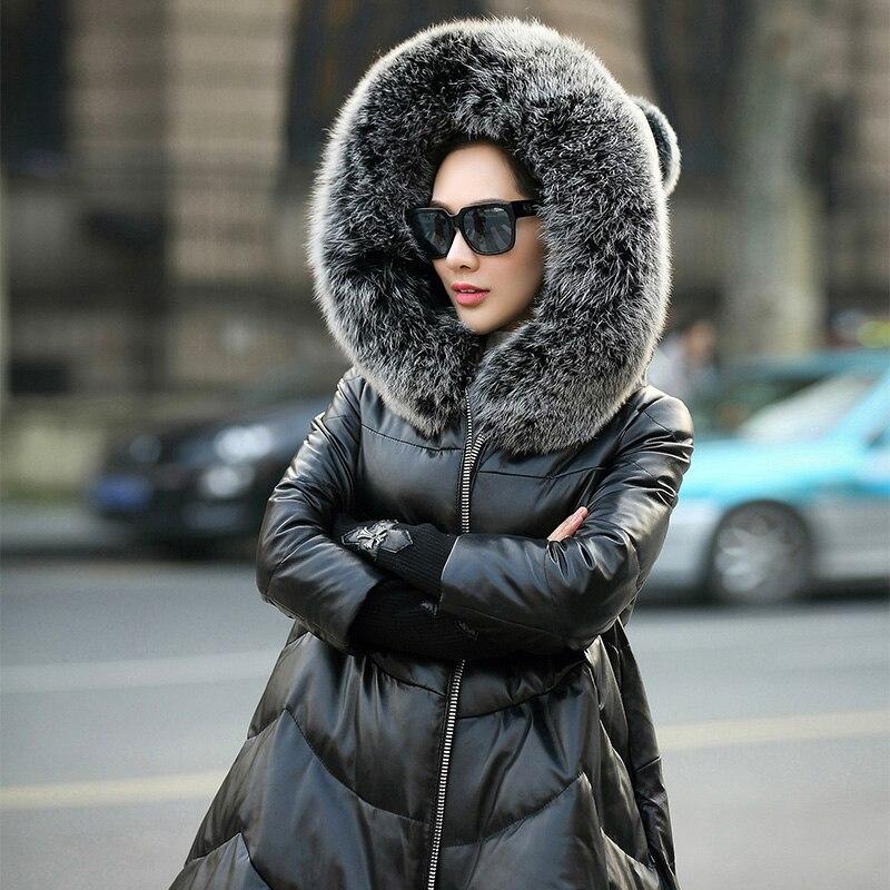 Hoodies Femmes Peau 2018 Mouton Renard Chaud Nouvelle G01 Blanc Cuir En Fourrure Black Manteau D'hiver Duvet Réel De Outwear Des Long Femelle Canard Veste qfUA0Iw