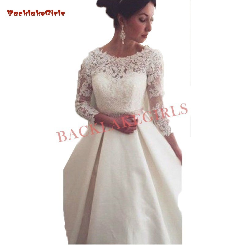 Ball Gown 3/4 Sleeve Lace Satin Elegant Formal Bridal Gown Wedding Dresses 2019 New Fashion Wedding Gowns Custom Made