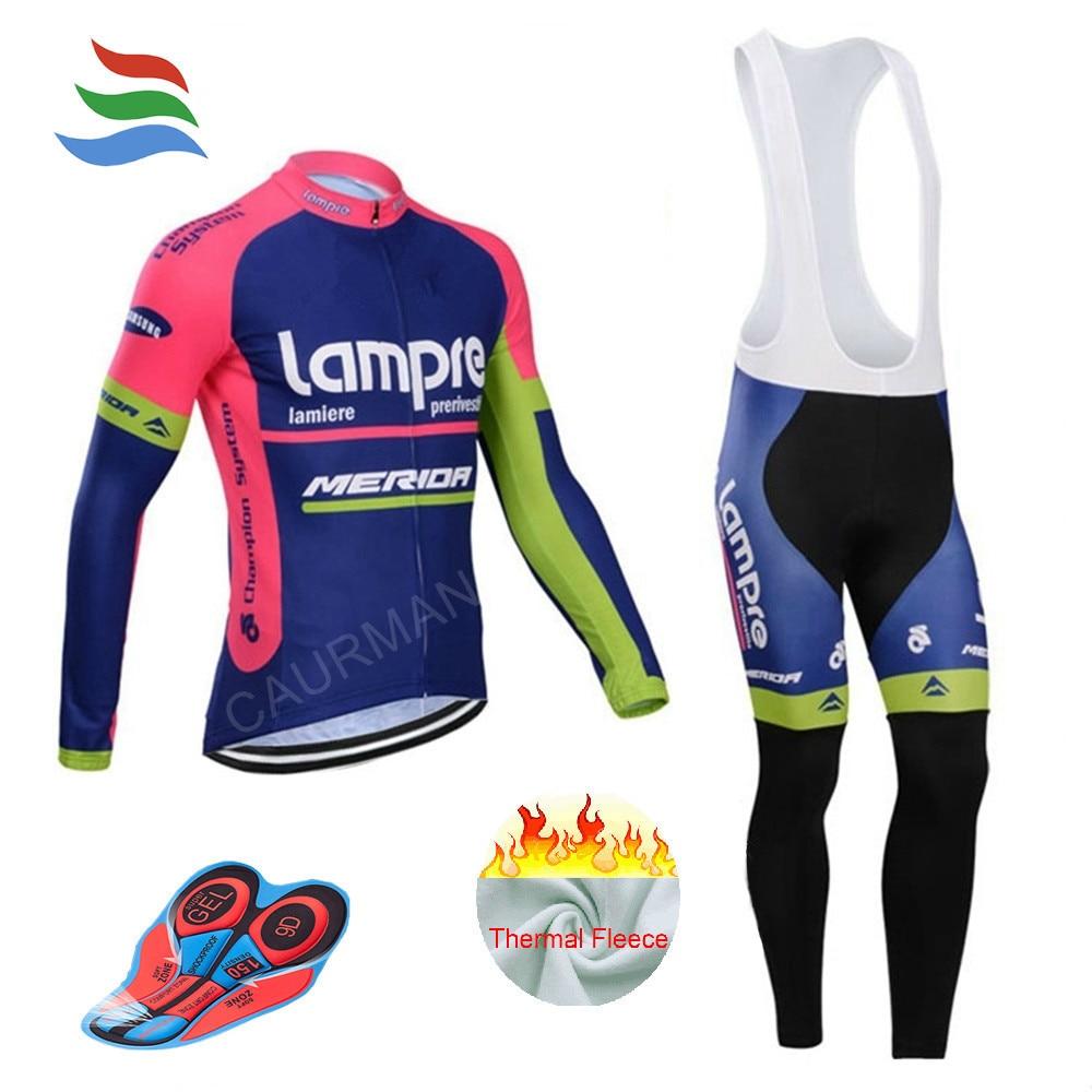 57e9ac6fb51 Pro Team Men Lampre Long Winter Cycling Jersey 2016 MTB Ropa Ciclismo  Thermal Fleece