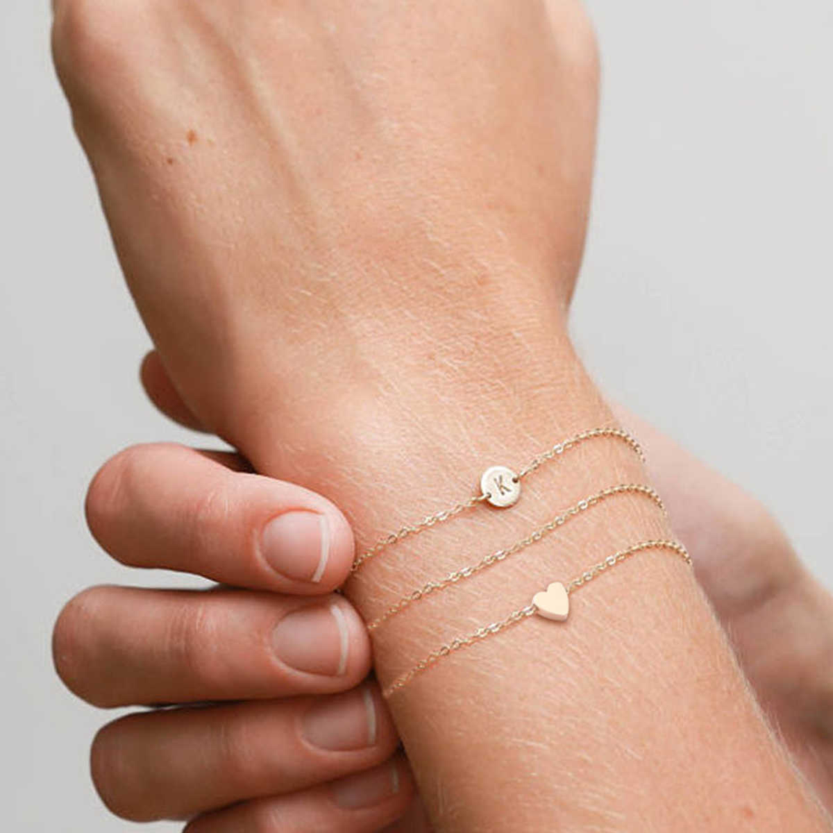 צמיד לנשים מכתב & לב צורת שילוב צמידי נשים של תכשיטי שלוש-חתיכה מעודן אופנה מתנה Bracciale femmina