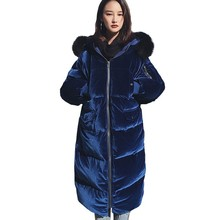 цена на Big Raccoon Fur Collar Parka Winter Velvet Hooded Women Long Down Jacket New Fashion White Duck Feather Coat Plus Size HJ100