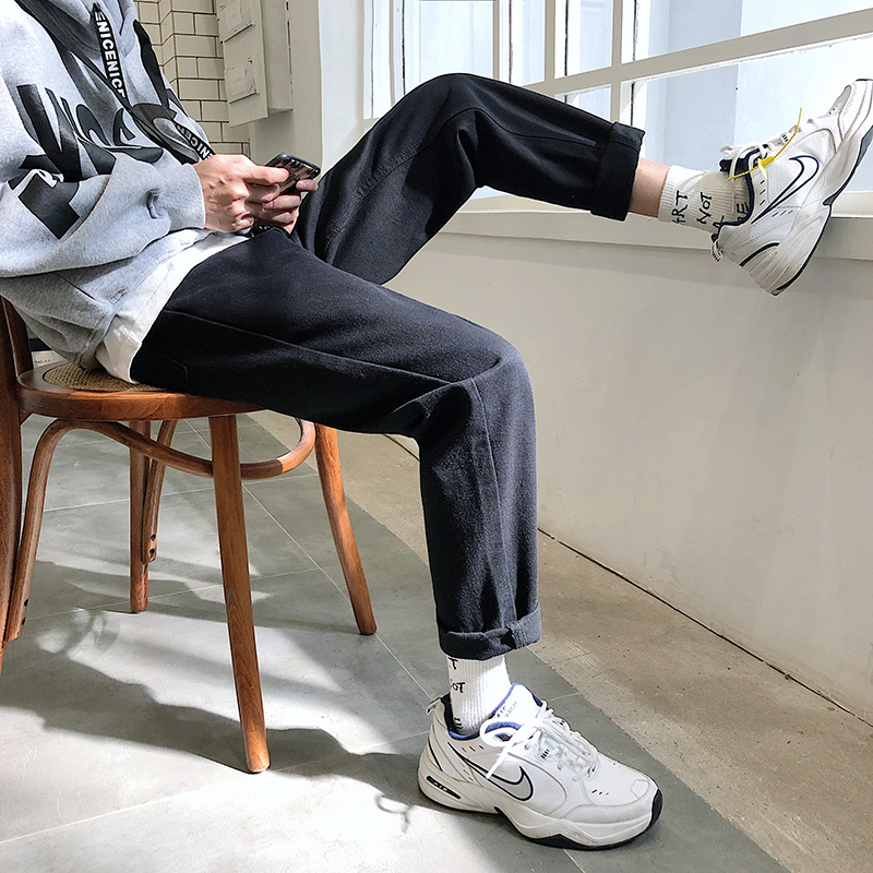 2018 Autumn And Winter Tide Men's Basic Men's Wild Casual Jeans Loose Micro-elastic Solid Color Harem Pants Black M-2XL