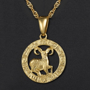 12 Horoscope Pendant Necklaces For Women Men Gold Aries Leo 12 Constellations Zodiac Sign Necklaces Dropshipping Jewelry GPM24A