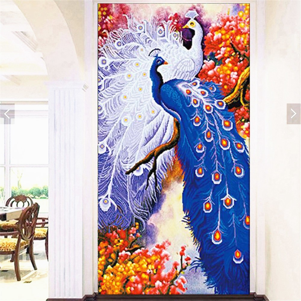 Huacan, en forma especial, pintura de diamante, bordado de diamante, pavo real de pareja, kits, bricolaje 5D, punto de cruz, animales, decoración de arte de pared