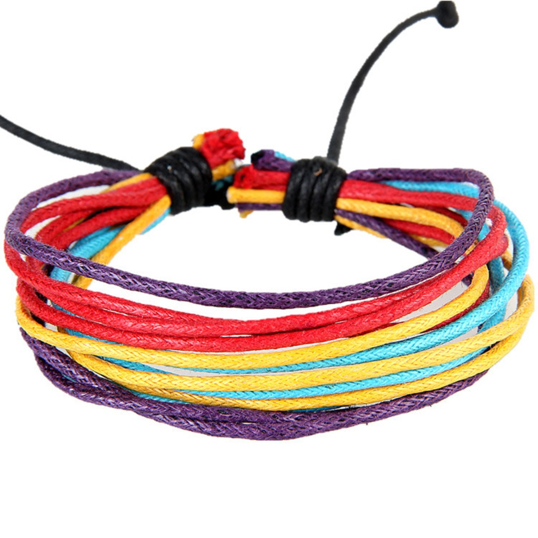 Hot Fashion Charm Wax Cord Hippie Bracelets for Women Men Colorful Multilayer Hand-woven Rope Chain Bracelet Bohemia Jewelry