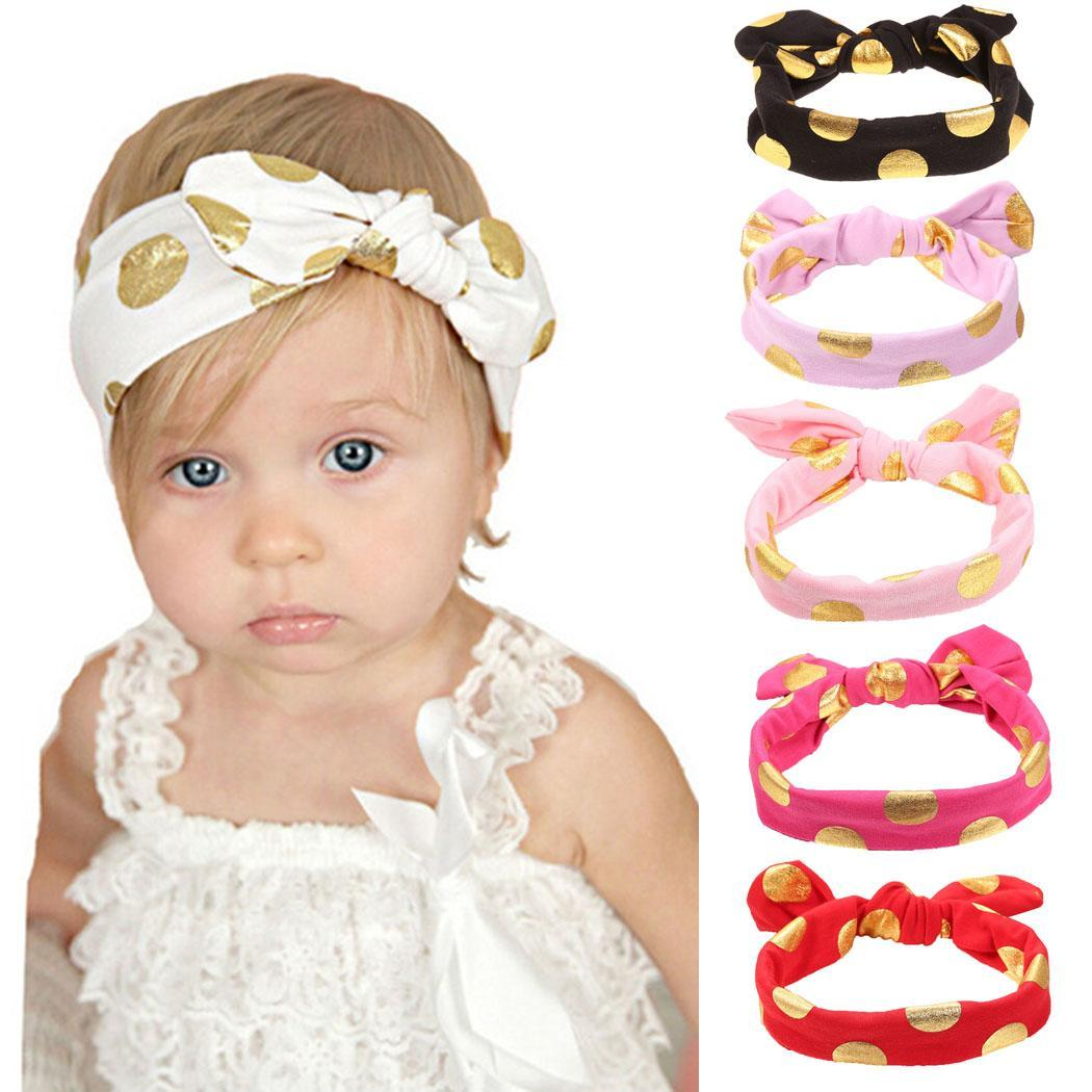 comfortable Print Ears Cotton Knot Bow soft Hair Headband Rabbit Dot Baby Accessories Hairband   Headwear   material cloth