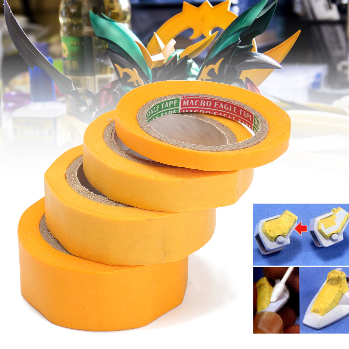 4Pcs/Set Yellow Masking Tape DIY Craft Modeler Car Model Tools Paint Car Painting Wall Painting Office Accessories Decoration