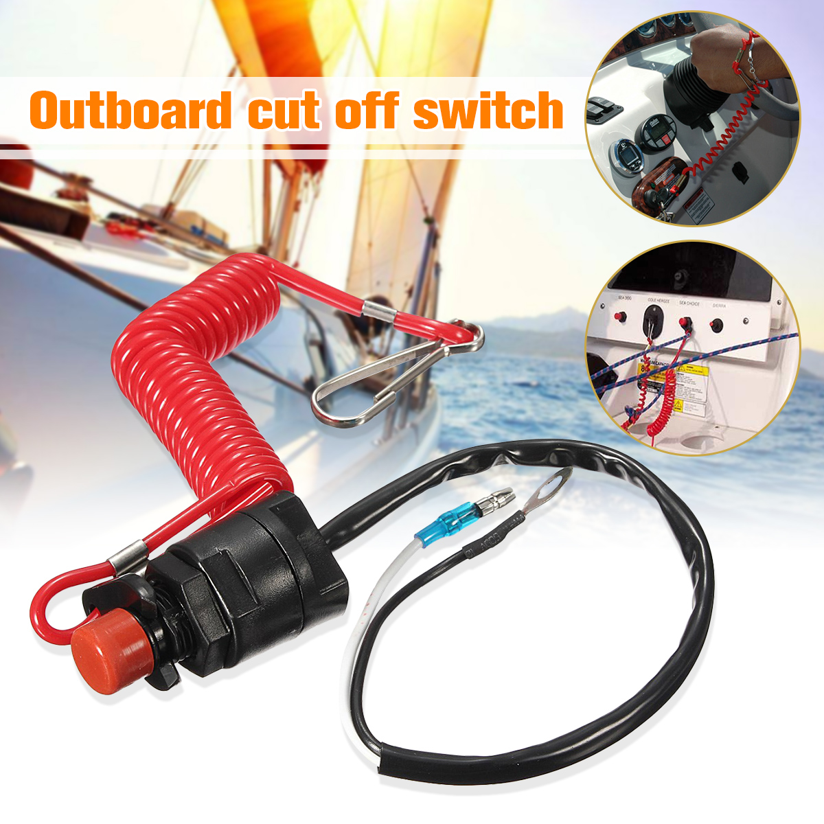 2 Pcs Outboard Engine Ignition Emergency Kill Stop Switch Safety Tether Lanyard for Yamaha Outboard Engine Motor